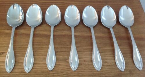 Primary image for Oneida Arbor American Harmony Stainless 7 Beaded Place Oval Soup Spoons USA