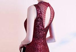 Burgundy Sequin Maxi Formal Dress High Waist V Neck Sequin Dress Wedding Gowns image 7