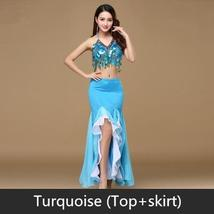 9 Colors Professional Belly Dancer Sequin Beaded Outfits Bra Belt Skirt image 2