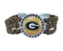 Georgia Bulldogs Multi Braided Brown Leather Crystal Bracelet Jewelry Re... - $9.89