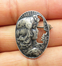 925 Sterling Silver - Vintage Woman's Profile Cut Out Oval Brooch Pin - ... - $24.93