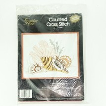 Conch Shells Counted Cross Stitch Beach Sea Scene Frame Kit Golden Bee 1990 - $19.54