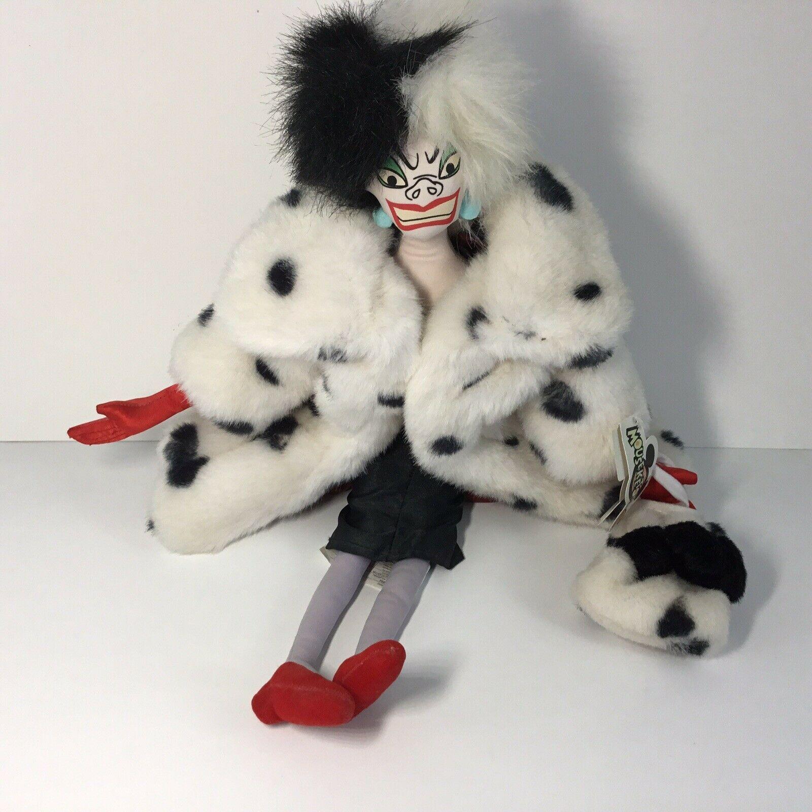"Disney 101 Dalmatians Villain Plush CRUELLA DE VIL Doll -- 18"" H"