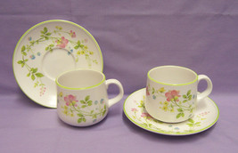 2 Noritake Clear Day Cup & Saucer Set Progression 9080 Floral on White 4 Pieces - $17.81