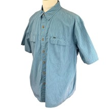 REI Men's Short Sleeve Shirt 100% Cotton Camp Hiking Blue Stripe Size XL - $22.61