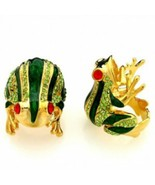 Frog Fashion Ring Red Crystal Eyes Green Rhinestones Gold Plated Size 9 - $18.80