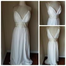 Oleg Cassini Women's Dress Gown Formal Wedding Prom Occasion Cream Maxi ... - $306.89