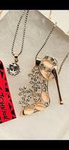 Betsy Johnson Opal Enamel Crystal High Heels Cats Eye CZ Double Pendant - $21.00
