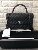 AUTHENTIC CHANEL QUILTED BLACK CAVIAR LARGE COCO PYTHON HANDLE BAG RECEIPT RHW image 1