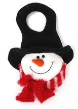 Snowman Door Knob Hanger Felt Plush Red Scarf Bow Black Hat Holiday Wint... - $14.84