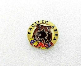 Pacific Area Washington Lapel Pin - Beaver, Bear, Flowers - $6.43
