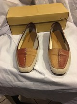 Enzo Angiolini Liberty Womens Leather Loafer Flats Shoes 7.5 Linen &brown Career - $14.96