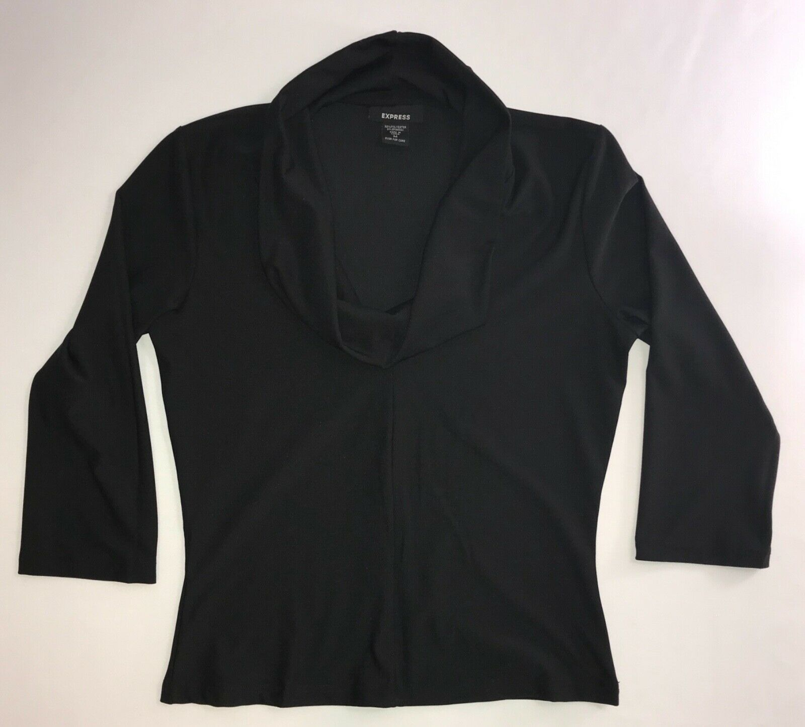Primary image for Cowl Neck Blouse with 3/4 Sleeves in Black by Express in Medium