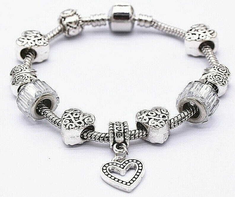 Primary image for Heart Charm Bracelet with Accent Beads 925 Sterling Silver NEW