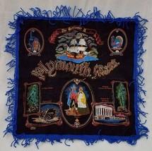Vintage Black Velvet Pillow Case Fringe Plymouth Mass Mayflower Pilgrims  - $24.14