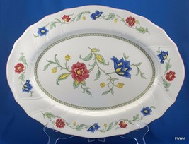 "Villeroy and Boch Persia Oval Serving Platter 14"" White Red Blue Floral - $76.23"