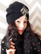 Black Knit Gemstone Hat,Caps, Hats, Womens Hats, Sequined Hat, Beret, Gimme Cap - $23.99