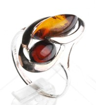 Argento Sterling 925 Multicolore Scuro & Luce Marrone Ovale Ambra Baltica Anello image 2