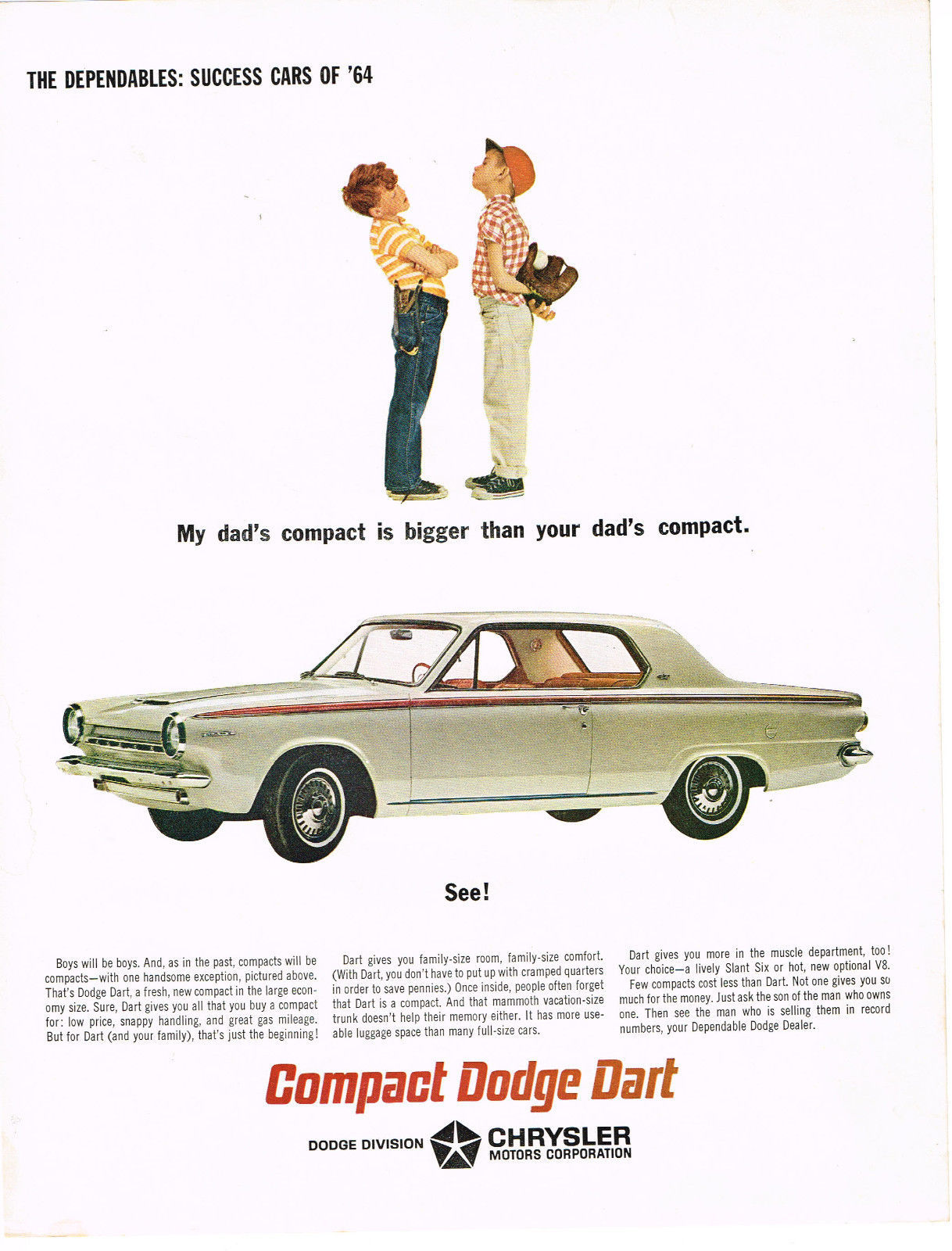 Vintage 1964 Magazine Ad Dodge My Dads Compact Is Bigger Than Your Dads Compact - $5.93