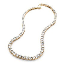 "44.13 TCW Graduated CZ Tennis Necklace 14k Gold-Plated 18"" - $90.99"