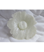 Vtg White Plastic Flower Pin Brooch Pansy Marbleized Faux Mother of Pearl - $8.99
