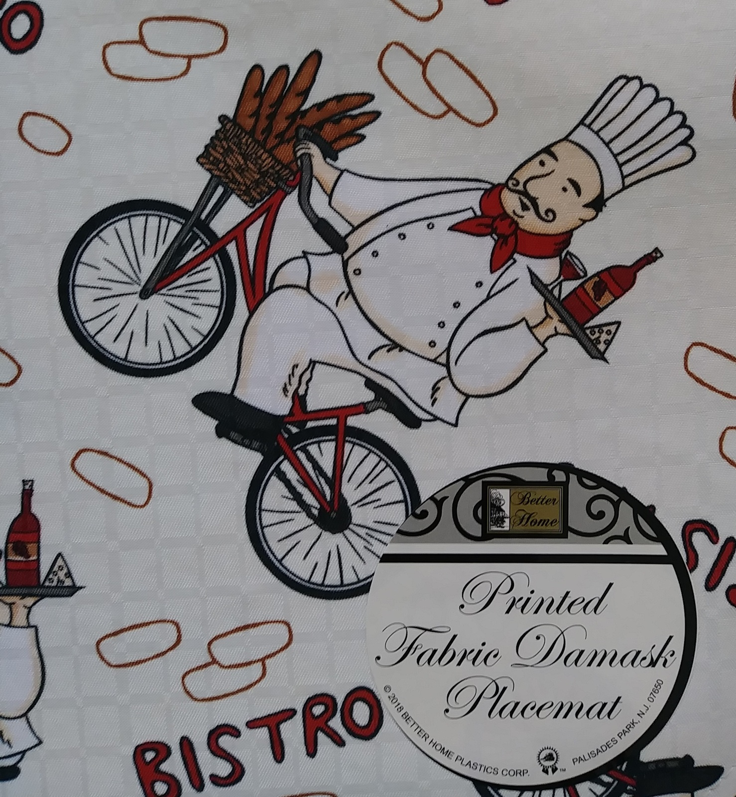Fabric Placemats 4pc set with Fat Wine Chef on Bicycle, Cream Red Bistro