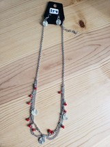 Paparazzi Long Necklace & Earring set(new)SILVER W/ RED BEADS 358 - $7.69