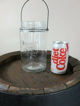 VERY RARE MASON JAR WITH EMBOSSED FLOWER  SET UP TO BE HANGING - $28.04