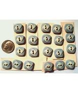 Lot 21 Vintage La Mode Square Blue Buttons 2 Hole 7/16 Inch Plastic New 1970s - $9.99