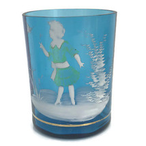 Antique Victorian Art Glass Tumbler Mary Gregory Blue White Enamel Girl ... - $32.73