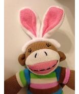 Dan Dee Sock Monkey Easter Bunny  Plush Knit Stuffed Animal Pink Toy - €11,45 EUR