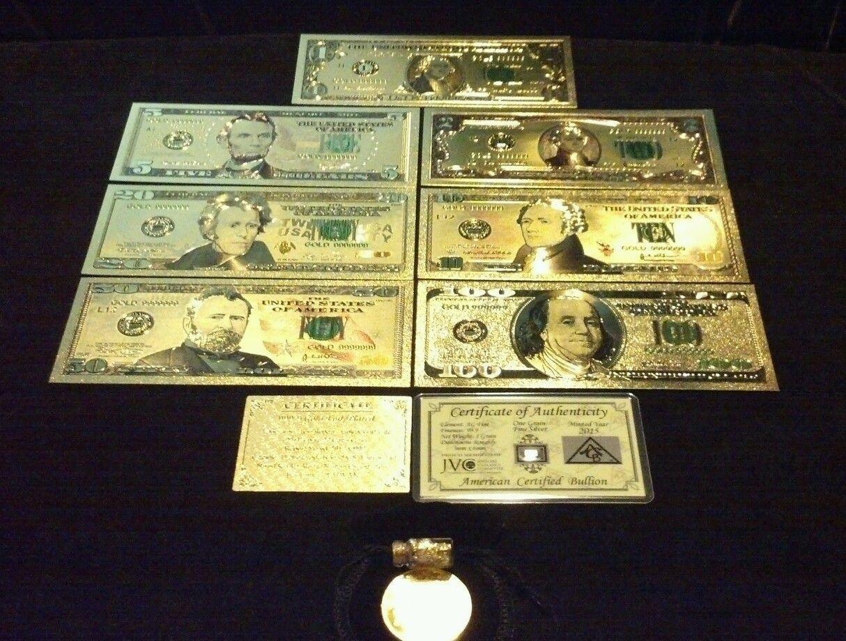 Primary image for ~LUCKY 11Pc.LOT~SILVER Shot+COIN+$1,2,5,10,20,50,$100 Banknote Reps*W/COA+FLAKE~