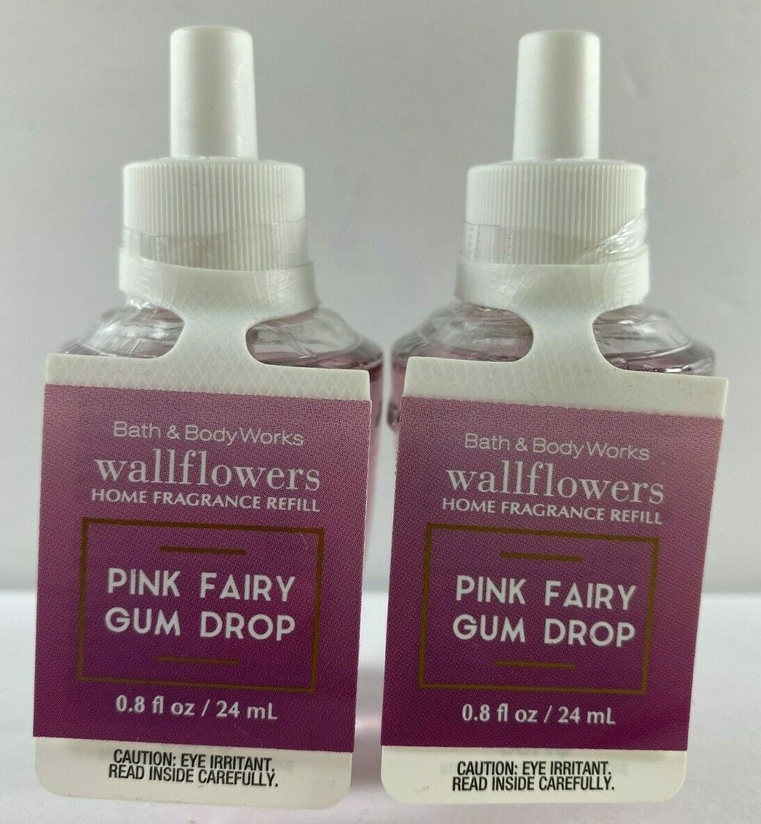 Lot of 2 Bath Body Works Wallflowers Refill .8 fl oz ea PINK FAIRY GUM DROP - $19.79