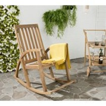 Outdoor Rocking Chair Natural Finish Traditional Style Durable Frame Aca... - $143.99