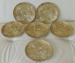 6 DOROTHY C. THORPE MID CENTURY POTTERY GOLD CHRYSANTHEMUM SALAD PLATES - $139.00