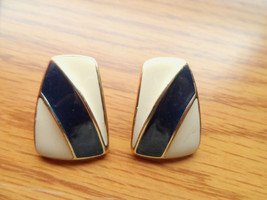 Vintage TRIFARI Earrings Blue Ivory Oblong rectangle PIERCED Dressy Formal style - $14.84