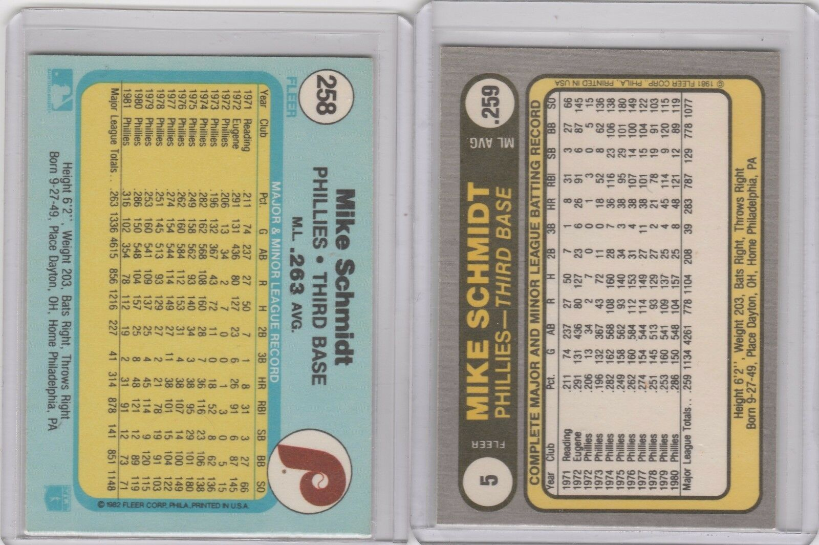 1981 1982 Fleer #5 #258 Mike Schmidt Phillies