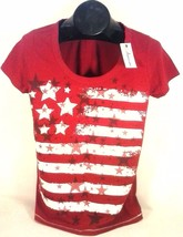 GREEN SOURCE AMERICANA AMERICAN FLAG RED T-SHIRT WOMEN'S SMALL FREE SHIP... - $12.99