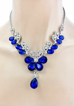 Royal Blue Crystals Evening Dainty Floret  Necklace Earrings Set Wedding  - $28.50