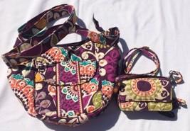 Vera Bradley Crossbody Purse & ZIP ID Wallet Wristlet Purple Floral - $23.38
