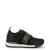 New Love Moschino Black Elastic Glittered Slip-on Sneakers - $250.00