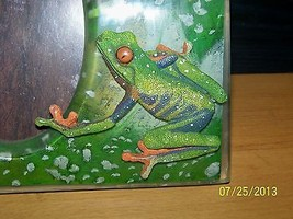 Jungle FROG Photo Frame 3d Raised Relief Green Picture Holder - $9.89