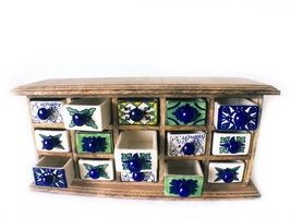 Apocatherapy Herb Spice Cabinet Wood Ceramic Handpainted  - £197.31 GBP