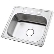 Gourmetier Studio GKTS2520 Self-Rimming Single Bowl Kitchen Sink, Satin Nickel - $58.64