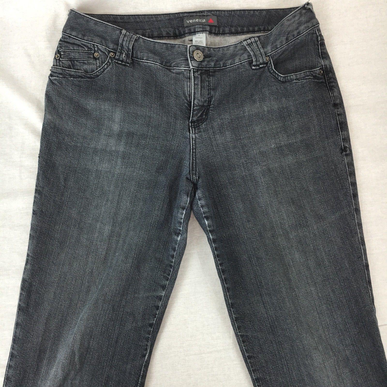 Venezia Lane Bryant Jeans Straight Leg Cotton Stretch Faded Black Plus Size 2