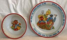 Sesame Street Going to Market 2 Pc Newcor Porcelain Child Dinner Set Pla... - $17.81