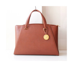 Valentino Garavani Brown Leather Tote Kelly Large handbag Gold Medal Aut... - $790.00