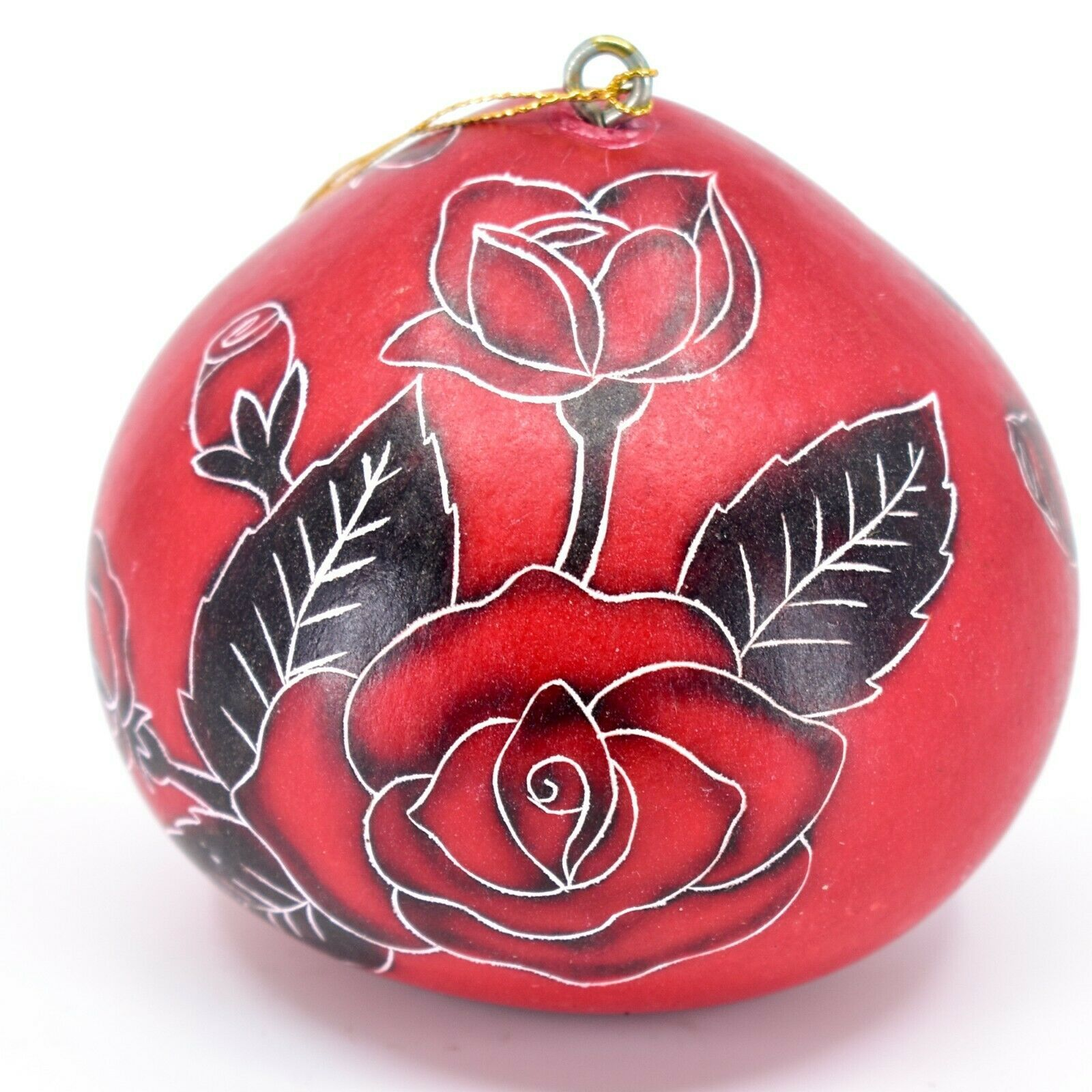 Handcrafted Carved Gourd Art Red Rose Roses Floral Ornament Made in Peru