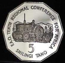 Tanzania 5 Shilingi FAO, 1978 Rare Proof~2,000 Minted~Farmer With Tracto... - $41.57