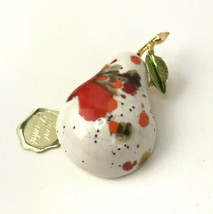Vtg Pear Brooch RENE Ceramic Pin Splattered Signed Fruit Costume Jewelry - $16.82